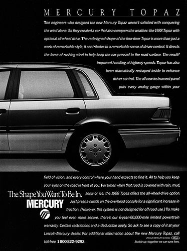 Ford Car Poster, 1988 Ford Mercury Topaz AWD , Vintage Ad Wall Art