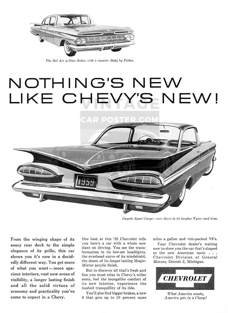 Chevrolet Car Poster, 1959 Chevrolet Bel Air, Vintage Ad Wall Art