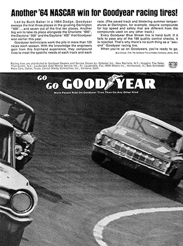 Goodyear Car Poster, 1964 Goodyear Tires Darlington 500 , Vintage Ad Wall Art