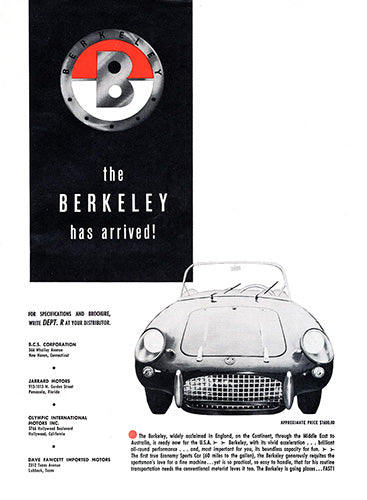 Berkeley Car Poster, 1958 Berkeley, Vintage Ad Wall Art