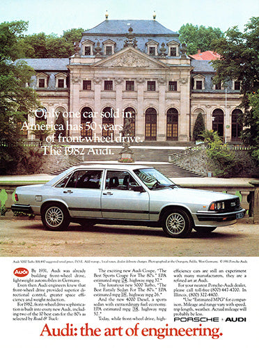 Audi Car Poster, 1982 Audi 5000 Turbo, Vintage Ad Wall Art