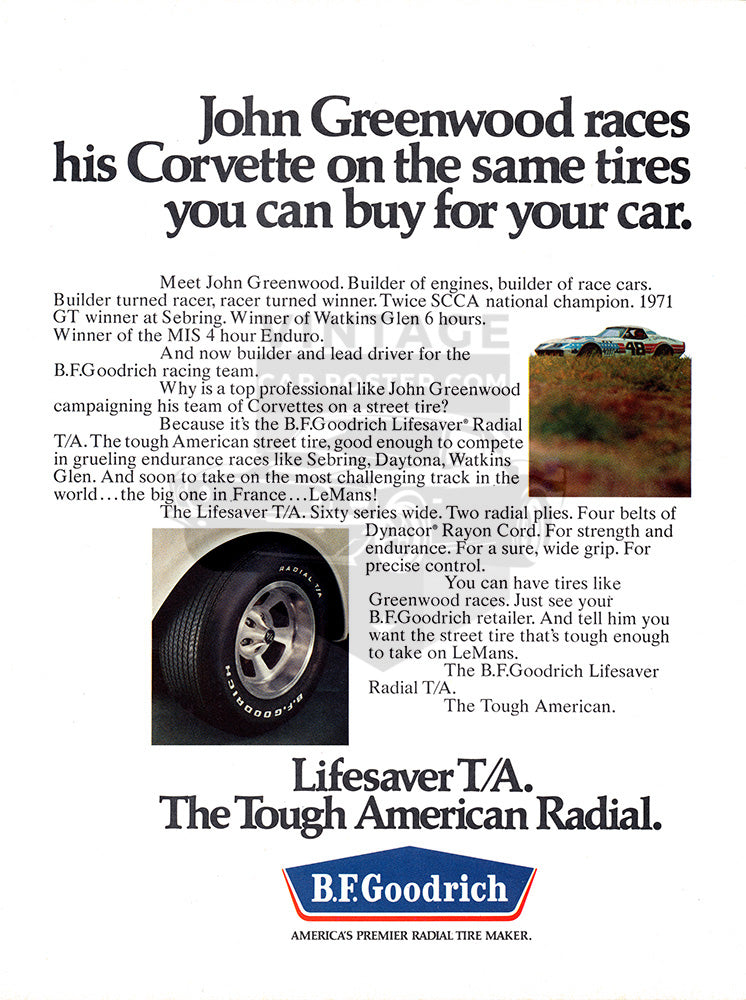 1972 BFGoodrich Tires Chevrolet Corvette Racing      #101630