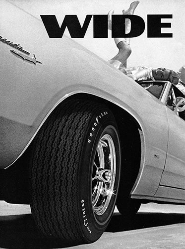 Plymouth Car Poster, 1967 Goodyear Tires Wide Boots Plymouth Barracuda , Vintage Ad Wall Art