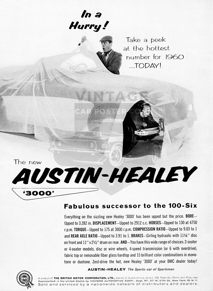 Austin Healey Car Poster, 1958 Austin Healey 3000 100-Six, Vintage Ad Wall Art
