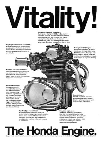 Honda Car Poster, 1968 Honda Motorcycle Engine, Vintage Ad Wall Art