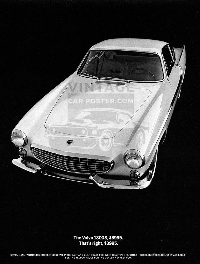 Volvo Car Poster, 1964 Volvo P1800S, Vintage Ad Wall Art