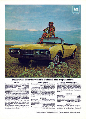 Oldsmobile Car Poster, 1968 Oldsmobile 442, Vintage Ad Wall Art