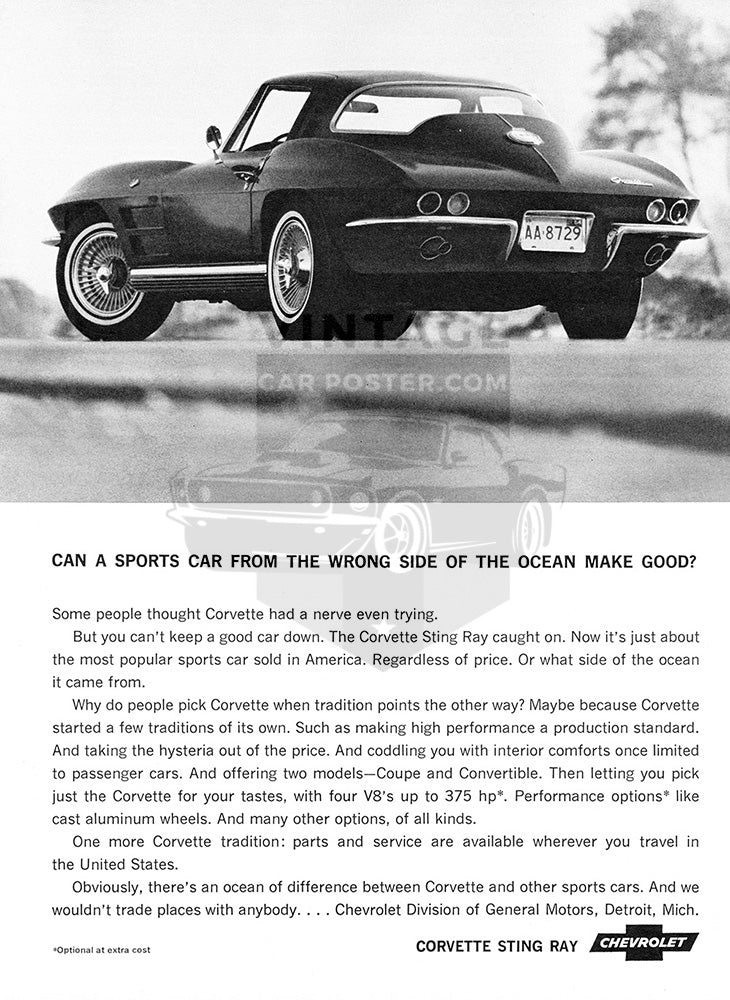 Chevrolet Car Poster, 1964 Chevrolet Corvette Stingray, Vintage Ad Wall Art
