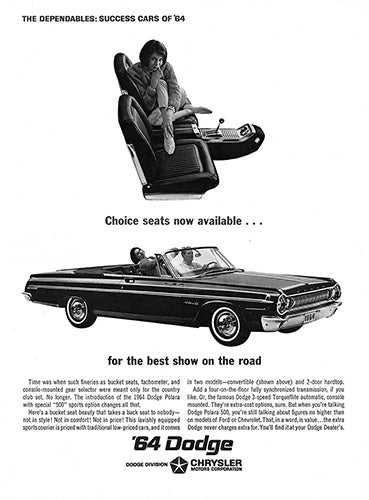 Dodge Car Poster, 1964 Dodge Polara 500 Convertible, Vintage Ad Wall Art