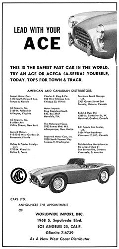 AC Car Poster, 1958 AC Ace ACECA, Vintage Ad Wall Art