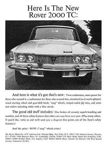 Rover Car Poster, 1966 Rover 2000 TC, Vintage Ad Wall Art