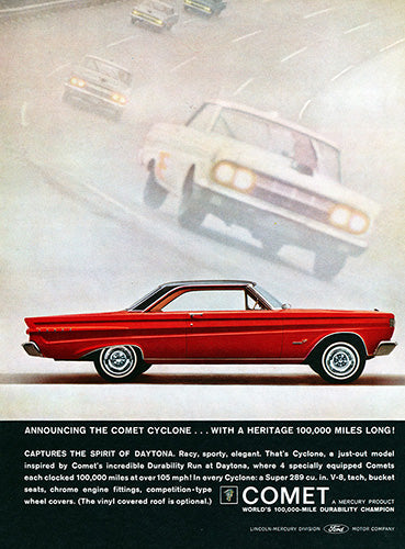 Ford Car Poster, 1964 Ford Mercury Comet Cyclone, Vintage Ad Wall Art
