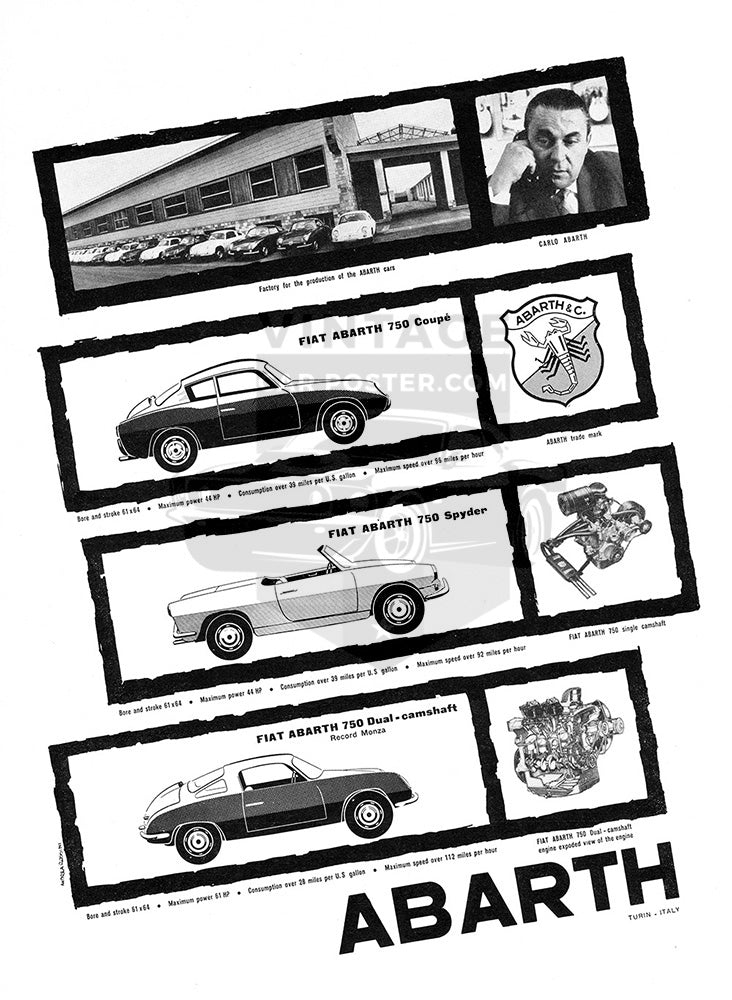 Fiat Car Poster, 1958 Fiat Abarth 750 Coupe Spider Dual, Vintage Ad Wall Art