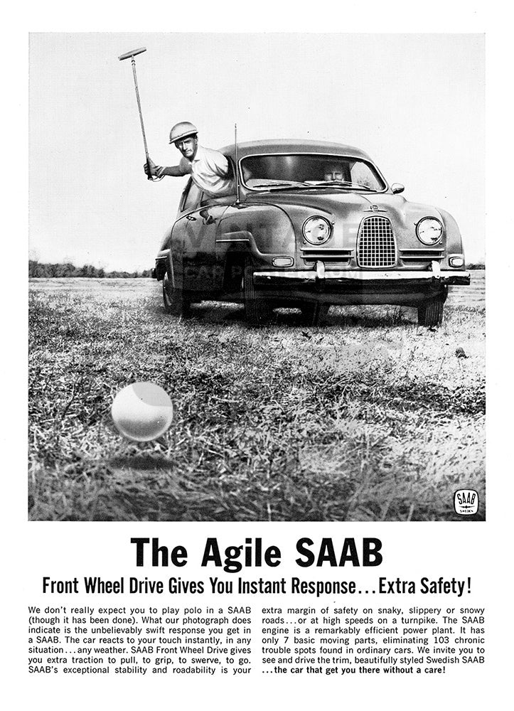 Saab Car Poster, 1962 Saab 93 96 Sports Sedan, Vintage Ad Wall Art