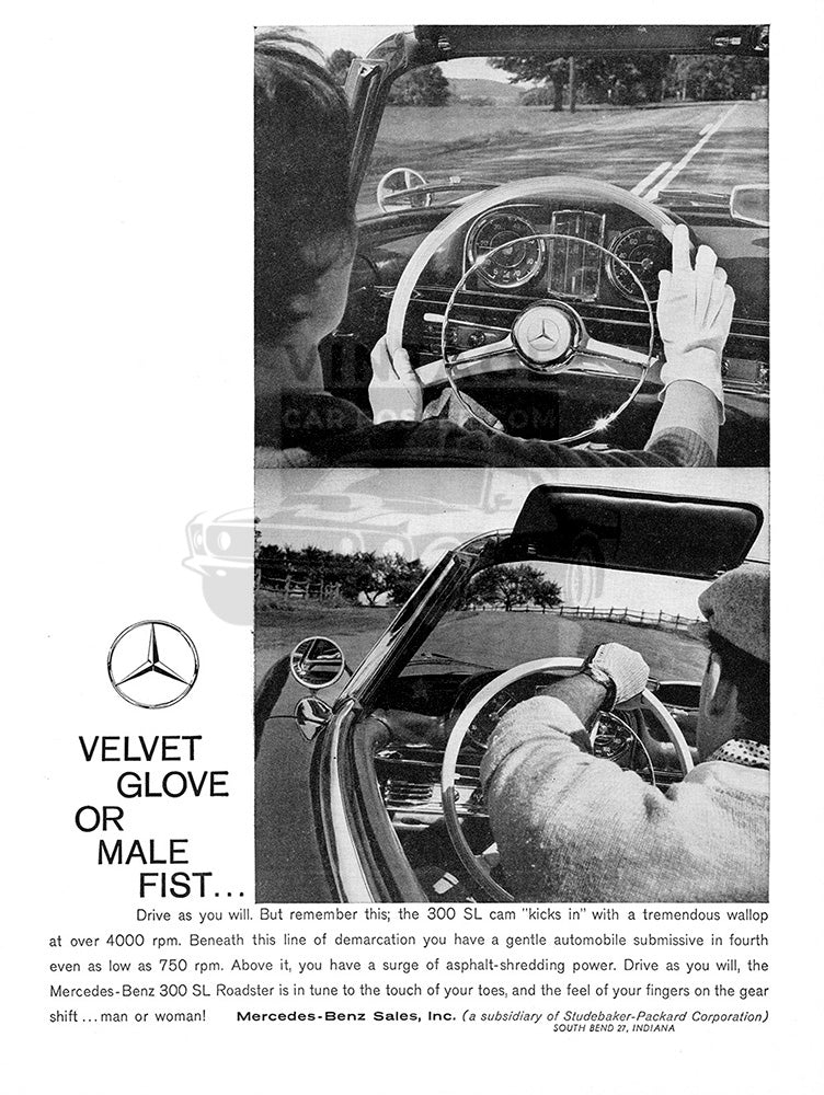 Mercedes Car Poster, 1960 Mercedes Benz 300 SL, Vintage Ad Wall Art