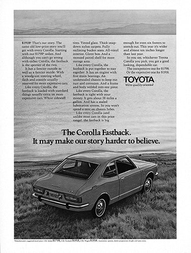 Toyota Car Poster, 1971 Toyota Corolla Fastback, Vintage Ad Wall Art