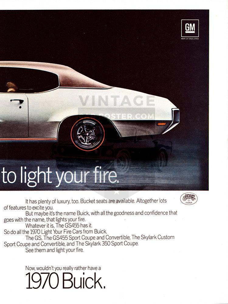 Buick Car Poster, 1970 Buick GS455 Stage 1 , Vintage Ad Wall Art