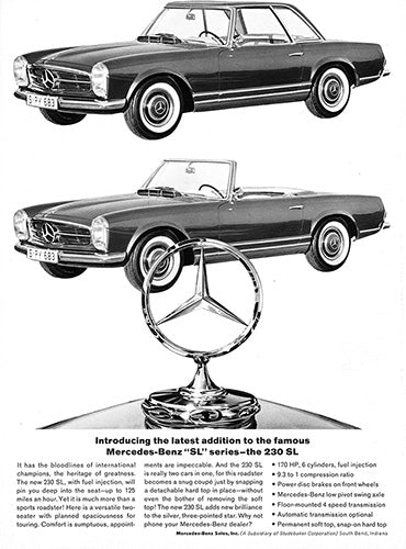 1964 Mercedes Benz 230 SL Converible     #100491