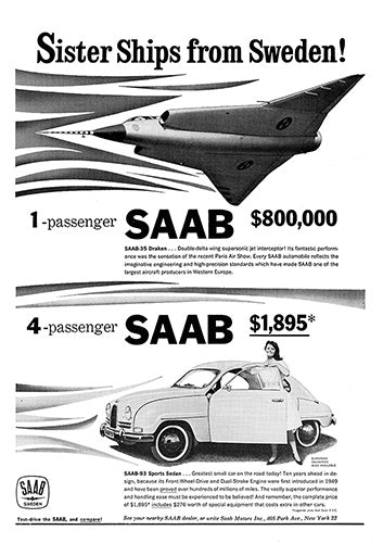 Saab Car Poster, 1960 Saab 93 Sports Sedan, Vintage Ad Wall Art