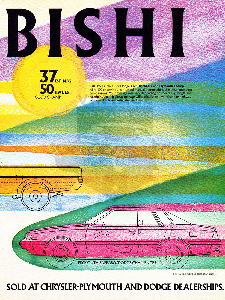 Mitsubishi Car Poster, 1981 Mitsubishi Dodge Colt Plymouth Arrow Sapparo , Vintage Ad Wall Art