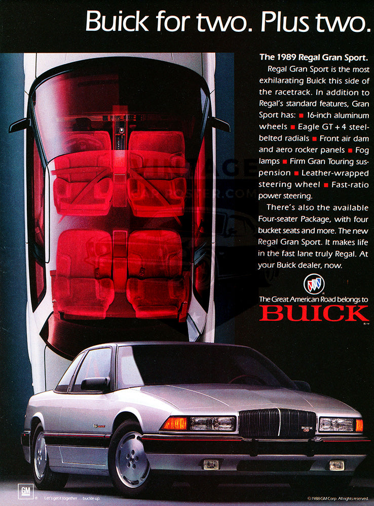 Buick Car Poster, 1989 Buick Regal Grand Sport, Vintage Ad Wall Art