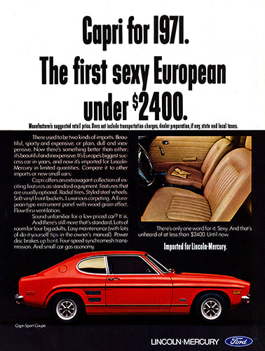 Ford Car Poster, 1971 Ford Capri Sport Coupe, Vintage Ad Wall Art