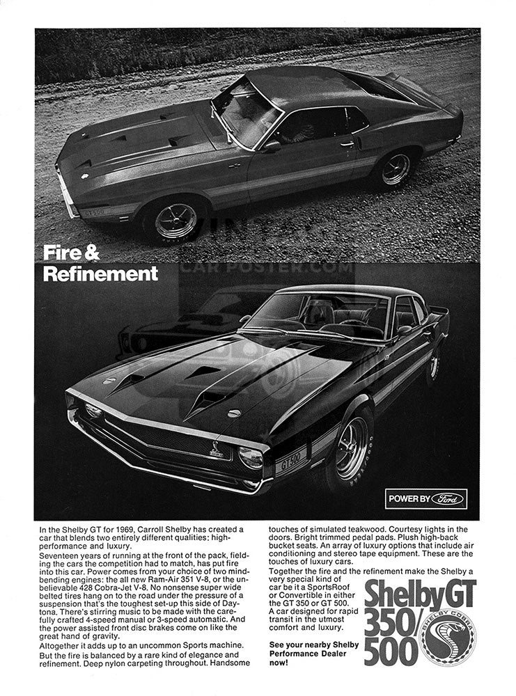 Ford Car Poster, 1969 Ford Mustang Shelby GT 350 500, Vintage Ad Wall Art