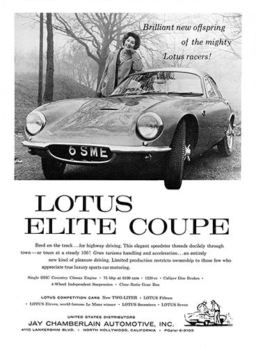 Lotus Car Poster, 1958 Lotus Elite Coupe, Vintage Ad Wall Art