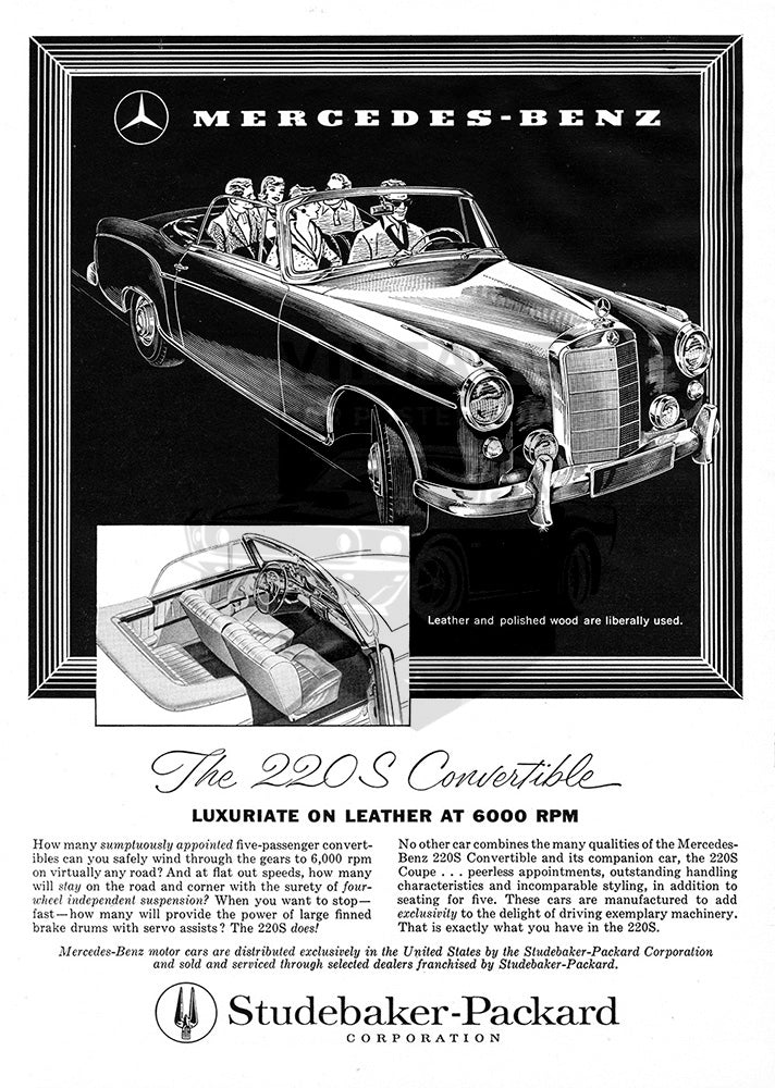 Mercedes Car Poster, 1958 Mercedes Benz 220S Convertible, Vintage Ad Wall Art