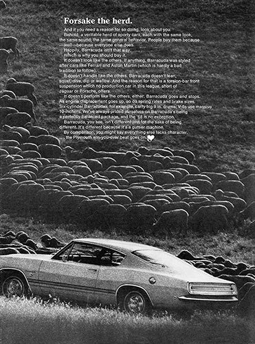 Plymouth Car Poster, 1968 Plymouth Barracuda , Vintage Ad Wall Art