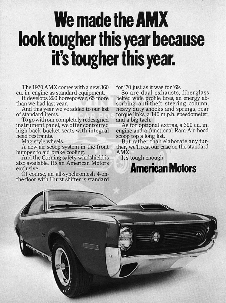 AMC Car Poster, 1970 AMC American Motors AMX, Vintage Ad Wall Art