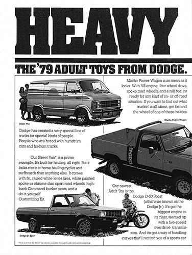 Dodge Car Poster, 1979 Dodge Street Van Power Wagon Jr. Sport , Vintage Ad Wall Art