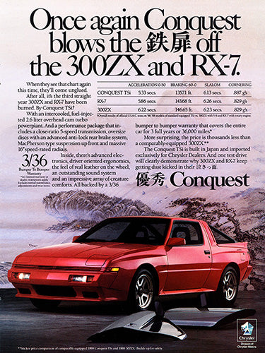 Chrysler Car Poster, 1989 Chrysler Conquest, Vintage Ad Wall Art
