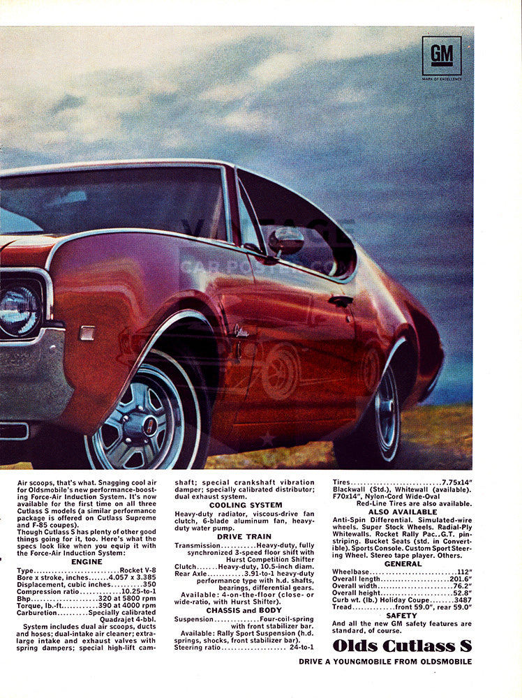 Oldsmobile Car Poster, 1968 Oldsmobile Cutlass S , Vintage Ad Wall Art