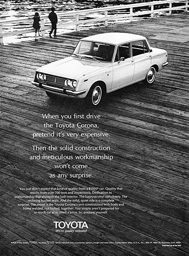 Toyota Car Poster, 1969 Toyota Corona, Vintage Ad Wall Art