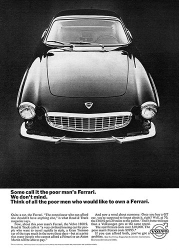 Volvo Car Poster, 1965 Volvo 1800S, Vintage Ad Wall Art