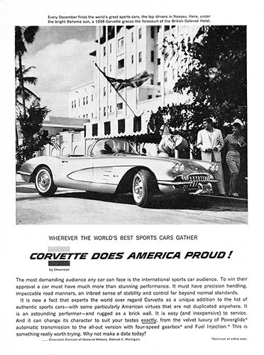 Chevrolet Car Poster, 1958 Chevrolet Corvette, Vintage Ad Wall Art