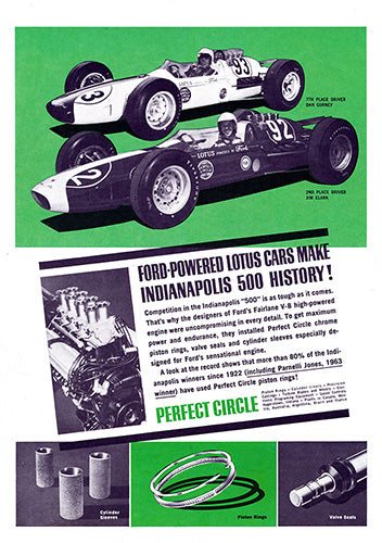 Ford Car Poster, 1963 Perfect Circle Piston Rings Ford Lotus Racing Indy 500, Vintage Ad Wall Art