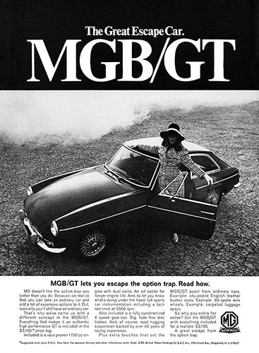 MG Car Poster, 1968 MG MGB GT, Vintage Ad Wall Art