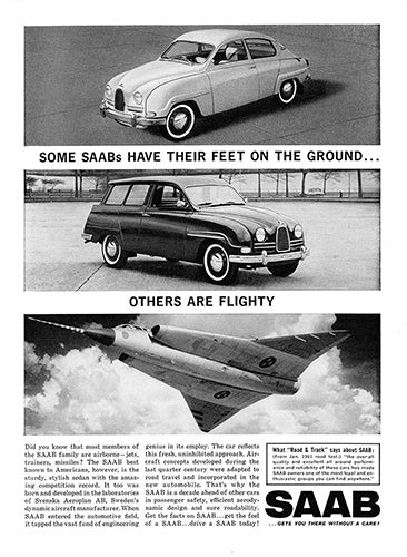 Saab Car Poster, 1962 Saab 93 Sports Sedan Station Wagon, Vintage Ad Wall Art
