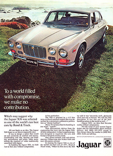 Jaguar Car Poster, 1972 Jaguar XJ6, Vintage Ad Wall Art