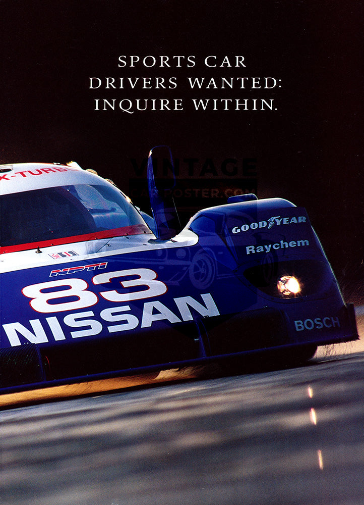 Nissan Car Poster, 1992 Nissan GTP, Vintage Ad Wall Art