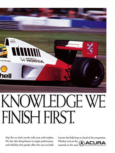 Acura Car Poster, 1992 Acura Formula One Racing , Vintage Ad Wall Art