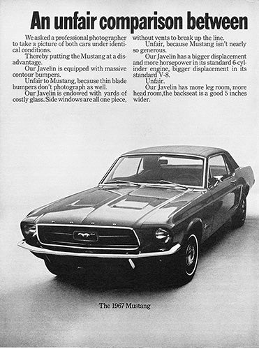 1968 AMC American Motors Javelin Ford Mustang      #100915
