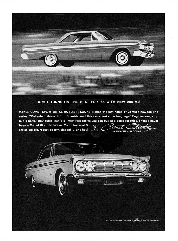 Ford Car Poster, 1963 Ford Mercury Comet Caliente, Vintage Ad Wall Art