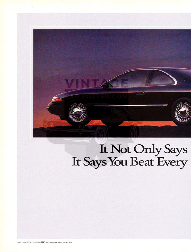 Lincoln Car Poster, 1993 Lincoln Mark VIII , Vintage Ad Wall Art