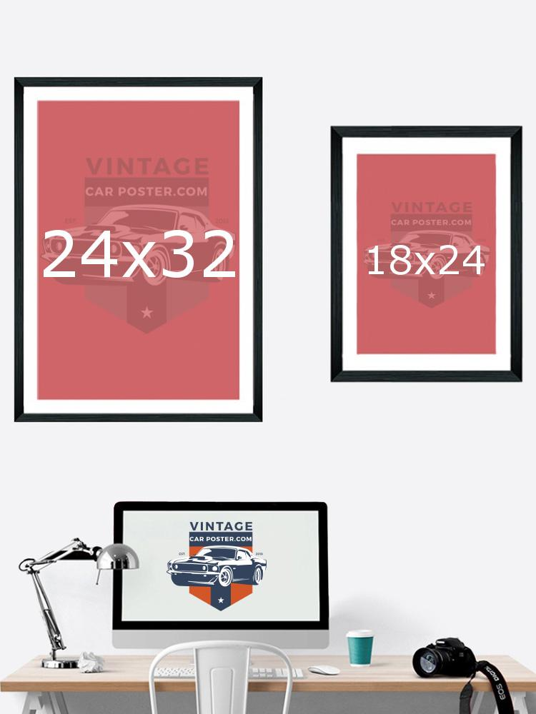 Example of vintage car poster print sizing, large poster print versus medium poster print.