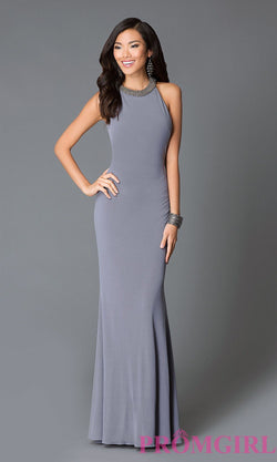 GREY HIGH NECK BACKLESS JOVANI GOWN