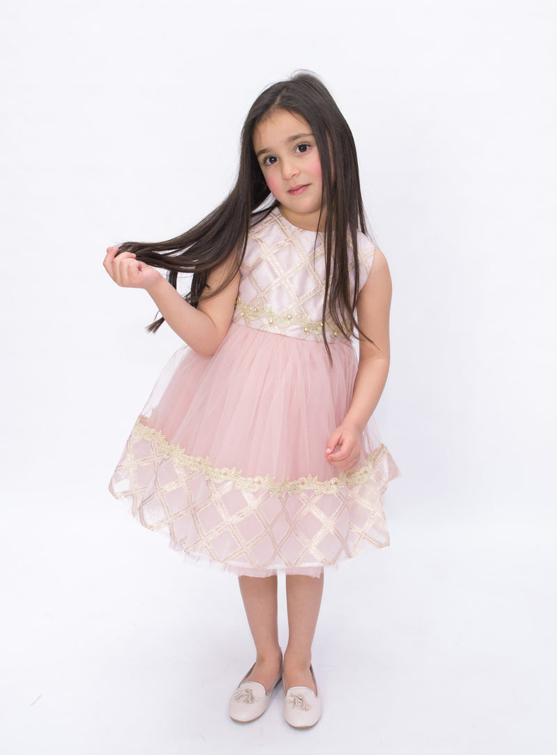 GOLD TRIM TUTU DRESS