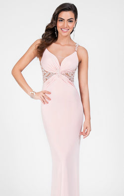 BEADED BLUSH TERANI FORMAL DRESS